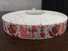 1m Elf On The Shelf Christmas Character Printed Grosgrain Ribbon, 22mm 7/8""