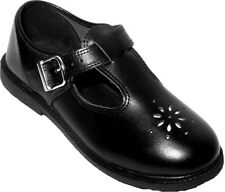New Girls School Shoes T Bar Black Leather Shoes Size 2-7 Buckled/Self Adhesive