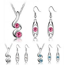 Women's Wedding Party Crystal Alloy Drop Necklace Earrings Jewelry Set Natural
