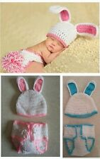 Baby Girls Boy Newborn-9M Knit Crochet White Rabbit Clothes Photo Prop Outfits A