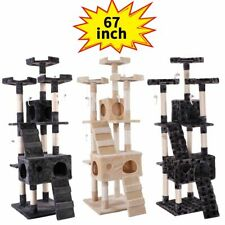 "67"" Cat Tree Scratching Tower Condo Post Pet Kitty Playhouse W/ Paws"