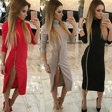 Women Bandage Bodycon Long Sleeve Evening Sexy Party Cocktail Zipper Mini Dress