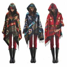 Women's Collar Plaid Cape Cloak Blanket Poncho Jacket Coat Shawl Scarf Bohemian