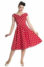 Brand New Gorgeous Retro 1950s Style Red Polka Dot Swing Dress Rockabilly