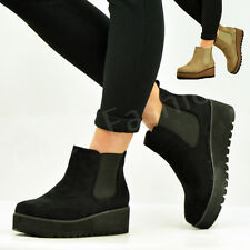 NEW WOMENS LADIES FAUX SUEDE ANKLE BOOTS BOOTIES WEDGE PLATFORM SHOES SIZE UK
