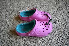 CROCS Hilo Lined Clog Pink Turquoise Size 1 2 3 Youth Girl Slip On Shoe NWT