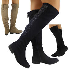 WOMENS LADIES SUEDE MID CALF KNEE HIGH BOOTS DIAMANTE LONG LOW HEEL SHOES SIZE