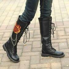 Punk Men Rock Chain Decor Black Shoe Lace Up Combat Military Knee High Boot 2016