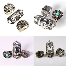 3Pcs Personality Retro Rhinestone Stone Carved Knuckle Finger Ring Set Jewelry
