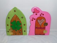 OOAK HANDCRAFTED FAIRY DOOR gnome hobbit Hearts decor elf shamrock leprechaun