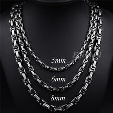 MEN'S 5/6/8MM Silver Black Tone Stainless Steel Byzantine Link Chain Necklace