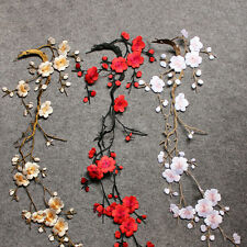 Embroidered Plum Blossom Flower Patch Iron/Sew on Applique Motif Craft Nice 1X J