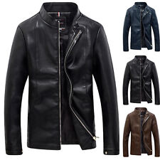 Men's Stylish Slim Fit Thin Stand Collar PU Leather Coat Tops Jackets Zipper Hot