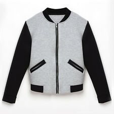 Fashion Womens Casual Long Sleeve Slim Baseball Uniform Jacket Coat Outerwear