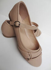 New Womens Nude Mary Jane Ballet Flat Casual Shoes Size 7.5 US