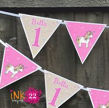 Personalised 3rd, 4th Birthday Girl Party Decoration Bunting Banner Pink Unicorn