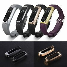 Stainless Steel Protective Case Cover + Band Strap For Xiaomi Mi Band 2 Bracelet
