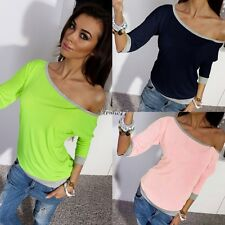 Fashion Casual Womens 3/4 Sleeve Loose Cotton Pullover T Shirt Top Blouse EA77