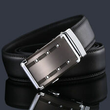 New Genuine Leather Men Silver Automatic Buckle Belts Waist Strap Belt Waistband