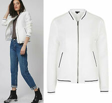 TOPSHOP Airtex Stripe Bomber Jacket Coat in Ivory Size 4 to 16