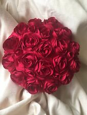 Round Red Rose Satin Cushion