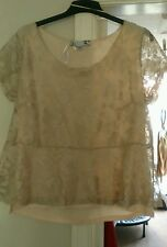 New Joanna Hope pretty nude/ blush lace overlay top size 20