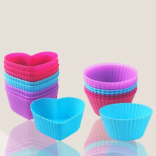 Candy Cup Silicone Cake Muffin Molds Heart Shape Round Icing Baking Mould 4pcs