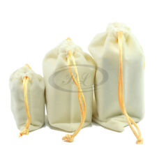 3pc Beige Velvet Drawstring Jewelry Pouches Wedding Party Present Packagings Hot