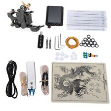 Tattoo Complete Kit 8 Wrap Coils 1 Guns Machine Power Supply Needles Grip