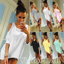 New Summer Fashion Womens Off Shoulder Loose Casual T shirt Long Tops Blouse