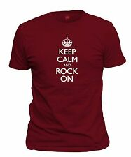 Men's Keep Calm And Rock On T-Shirt Funny Rockstar Party Rock N Roll FREE S&H!