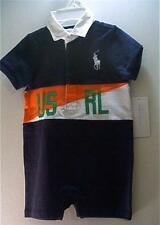 New Ralph Lauren Baby Boys Clothing Shortall Rugby Romper Overall Outfit