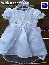 Baby Girl Kid child White Christening Baptism Wedding party dress Cap Outfit Set