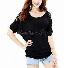 UK Women Blouse Batwing Sleeve Lace Crochet Floral Shirt Top Tee Plus Size 12-18
