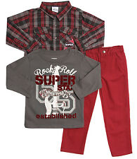 Little Rebels Baby Boys' 3 Piece Plaid Button Up Shirt T-shirt Red Chino Pants