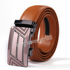 Hot Genuine Leather Men's Red Automatic Buckle Belts Waist Strap Belt Waistband