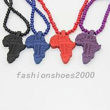 Vintage Hip Hop African Map Pendant Wooden Rosary ball Beaded Chains Necklaces