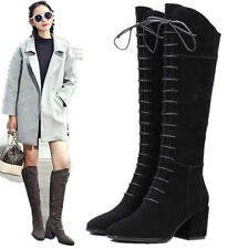 Womens Lace Up Suede Leather Knee High Boots Square Toe Mid Heel Military Boots