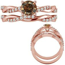 1.15 Ct Champagne Diamond Infinity Crossover Twisted Ring + Band 14K Rose Gold