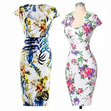 Women Retro Vintage 1950s 60s Rockabilly Floral Club Summer Sexy Pencil Dresses