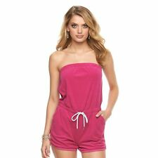 NEW JUICY COUTURE Womens Strapless Romper Shorts Terry Cloth Fuchsia M XL $44