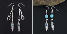 FEATHER/H SHOE EARRINGS GIFT BRAND NEW HAND MADE 925 STERLING SILVER HOOK HJE12