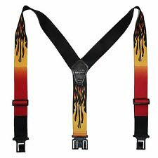New Perry Suspenders Mens Elastic Hook End Flames Suspenders (Reg & Tall)