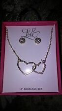 LOVE DUAL HEART  Necklace Silver Chain and ear rings. Nice Gift