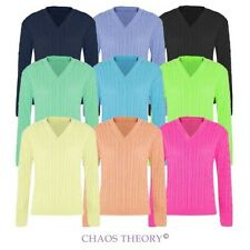 Ladies Womens V Neck Long Sleeve Jumper Top Knitwear Plain Chunky Cable Knitted