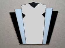 Art Deco Fantail Stained Glass Black/White Wall Mirror FT10 49cm x 56cm