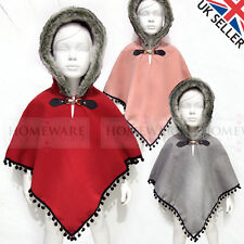 GIRLS CAPE SPANISH STYLE HOODED FAUX FUR POM POM CAPE PONCHO RED GREY PINK NEW