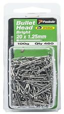 Paslode BULLET HEAD NAILS 100g Bright Steel *Aust Brand - 20x1.25mm Or 25x1.25mm