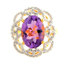 Amethyst 5.15 Carat Gemstone & Diamond Ring In 10 Kt Yellow Gold Jewelry