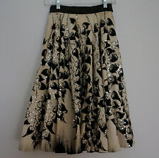 Vintage 1950s Mexican Hand-Painted Morning Glory Vine Print SEQUIN Circle Skirt